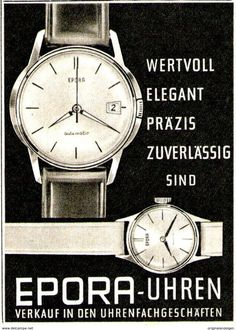 Original-Werbung/ Anzeige 1961 - EPORA UHREN - Ca. 60 X 80 Mm - Werbung