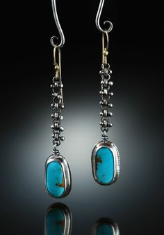 Royston Turquoise Earrings.  Fabricated Sterling Silver and 14k. www.amybuettner.com https://www.facebook.com/pages/Metalsmiths-Amy-Buettner-Tucker-Glasow/101876779907812?ref=hl https://www.etsy.com/people/amybuettner