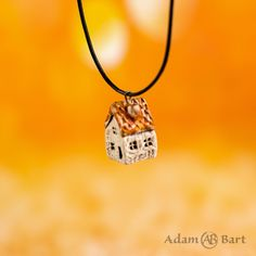 Tiny Ceramic House with Orange Roof / Pendant Neckle / Unique Handmade Jewellery / Gift for Her / Letather look cord / Miniature Charm Handmade Jewellery, Jewelry Gifts, Ceramic Houses, Black Gift Boxes, Color Calibration, Ceramic Pottery, Cord, Gifts For Her, Miniatures