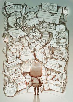 Market Illustration - sketch by Maria Tiurina, via Behance