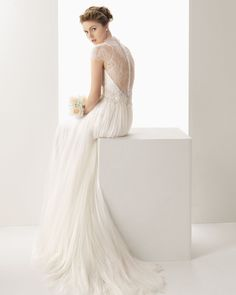 Tulle V Neck Court Train A Line Wedding Dress Wro0091