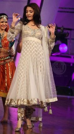 New trends in Anarkali dress designs   Designer   Latest   2012   Indian   White   Salwar kameez   Designs   Images   Wallpapers   Netted   Celebrities !!