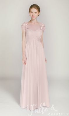 Elegant Long Illusion Neck Bridesmaid Dress with Lace Cap Sleeves in Pale Sky Blue Bridesmaid Dresses With Sleeves, Affordable Bridesmaid Dresses, Bridesmaid Dress Colors, Wedding Bridesmaid Dresses, Bridesmaid Separates, Bridal Dresses, Chiffon Skirt, Elegant, Lace Dress