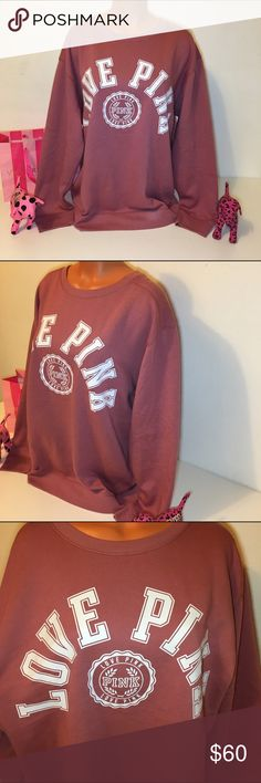 """🚫SOLD🚫NEW PINK VS CREWNECK SWEATSHIRT PINK VICTORIA'S SECRET SWEATSHIRT CREWNECK SWEATSHIRT WITH BIG LOGO """"LOVE PINK"""" IN THE FRONT.  GORGEOUS PIECE!!!  COLOR BEGONIA SIZE (OVERSIZED) *The one in the picture of this list is size Large.  BUST MEASUREMENT  SMALL 21"""" (laying flat)  FASTSHIPPING!!!    Check out my other items! I am sure you will find something that you will love it! Thank you for watch!!!!! Be sure to add me to your favorites list! PINK Victoria's Secret Tops Sweatshirts…"""
