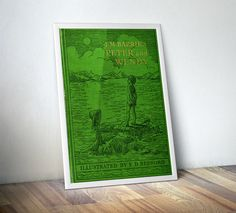 Peter Pan Vintage Book Cover Art. If Peter Pan is one of your favourite books, stories, or you just love classic books, adding this vintage poster print to your library, study or living room would be perfect.