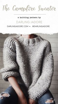current No Cost chunky knitting sweaters Popular Campfire Sweater Knitting Pattern, Chunky Knit Sweater Pullover Pattern Easy Sweater Knitting Patterns, Jumper Patterns, Knit Patterns, Knitting Sweaters, Easy Knitting Projects, Knit Sweater Patterns, Diy Knitting Scarf, Crochet Jumper Pattern, Beginner Knitting Patterns
