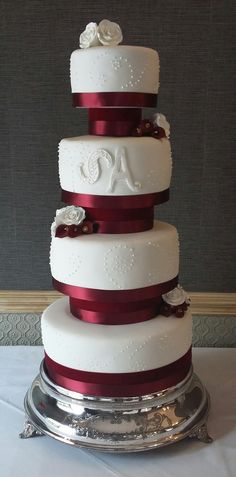 White & Burgundy Wedding Cake - Love the cake stand so much; it was stunning a really added to the height Wedding Favours, Wedding Cakes, Burgundy Wedding Cake, Chocolate Stout, White Burgundy, Fondant Icing, Artisan Bread, Marzipan, Confectionery