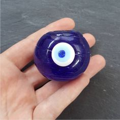Super Chunky Blue Evil Eye Nazar Glass Bead Pale blue Iris