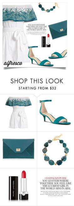 """""""Easy Breezy: Alfresco Dining"""" by letiperez-reall ❤ liked on Polyvore featuring Mara Hoffman, Nine West, Jimmy Choo, Nest, Marc Jacobs and Kate Spade"""