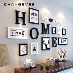 Style européen maison Design mariage amour Photo cadre décoration murale en bois cadre Photo ensemble mur Photo cadre ensemble, blanc noir de la boutique en ligne | Aliexpress mobile