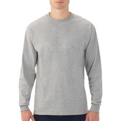 Fruit of the Loom Men's Long Sleeve Crew T-Shirt, Size: Medium, Gray
