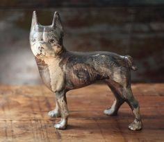 Early Rare Left Facing Hubley Boston Terrier Dog Cast Iron Doorstop