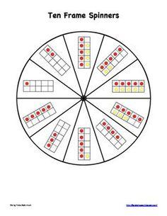 Bookish Ways in Math and Science: Ten Frame Spinners Preschool Math, Math Classroom, Kindergarten Math, Fun Math, Teaching Math, Teaching Ideas, Classroom Ideas, Math Stations, Math Centers