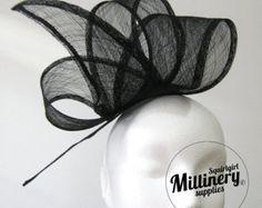 Black Wide Sinamay Ribbon Sash for Millinery, Hat Trimming & Fascinators