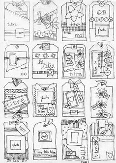 template for lots of different tags! Scrapbook Sketches, Card Sketches, Scrapbook Pages, Smash Book Pages, Card Making Templates, Sketch Paper, Loom Knitting Patterns, Title Card, Pocket Letters