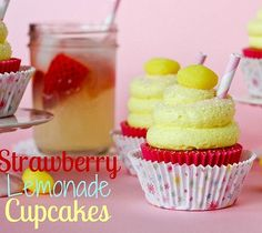 Strawberry Lemonade Cupcakes - perfect for Spring birthdays!!