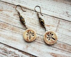 dragonfly ceramic earrings on brass-dragonfly earrings with purple creek jasper-dragonfly jewelry-brass dragonfly earrings-dragonflies