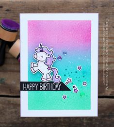 wings of a butterfly: Unicorn Birthday Card