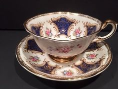Cobalt-and-Gold-Panel-with-Dainty-Flowers-Paragon-Tea-Cup-and-Saucer-Set