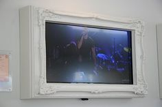 Framed TV. Very cool! Wall Colors, Paint Colors, Colours, Cream Decor, Tv Panel, Framed Tv, Wall Mounted Tv, Vintage Trailers, New Room