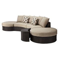 Target : Lexus 3-Piece Wicker Patio Sectional Seating Furniture Set : Image Zoom