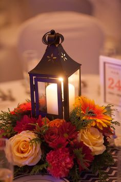 #fallwedding centerpiece lantern