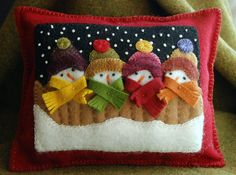Christmas wool applique snowman pillow by HorseAndBuggyCountry