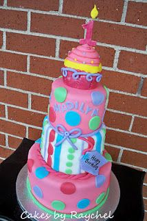 1st Birthday Cupcake Cake - So cute - you see...a cupcake on top of a cake (but I won't be makin teirs!)