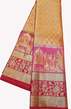 Shop online for  Orange Handloom Kanjeevaram Pure Silk  Saree