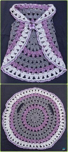 DIY Crochet Circle Block Vest Free Pattern -Crochet Little Girl Circle Vest Sweater Coat Free Patterns. - Crochet and Knit Little+Girl+Crochet+Patterns+Free Crochet For Kids, Diy Crochet, Crochet Crafts, Crochet Projects, Simple Crochet, Crochet Ideas, Sewing Projects, Crochet Tops, Sewing Ideas
