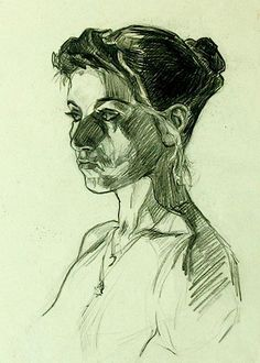Pia Ranslet, female portrait drawing
