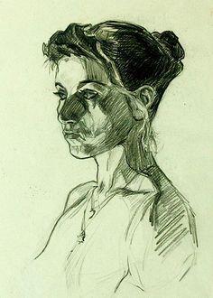 Pia Ranslet, female portrait drawing