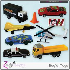 CU Boys Toys - great for kits and layouts for boys.  #theStudio #ZestyDesigns #digitalscrapbooking