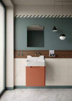"""Frieze est la nouvelle gamme de lavabos et compléments pour salle de bain dessinée par Marcan- te-Testa pour Ex.t. Inspirée de la série """"entablatures"""" de Roy Lichtenstein, le projet évolue autour d'une stratigraphie de signes, matériaux et couleurs, où le lavabo devient l'élément central de la salle de bain autour duquel gravitent les accessoires. Bientôt chez moozelaboutique.com"""