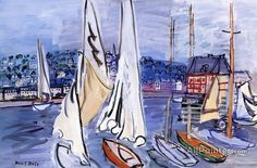 Raoul Dufy,Sailing Boats In Deauville Harbor oil painting reproductions for sale