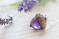 Acorn Necklace  Purple  Real Flower Jewelry  by ButtonsyJewellery
