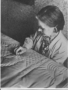 Hand Quilting in County Durham, England circa 1950.