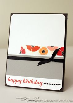 Floral Washi Tape Happy Birthday Card (sketch A): Floral Washi Tape Happy Birthday Card (sketch A)