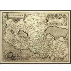 Engraving Depicting 16th Century Map of Terra Sancta | From a unique collection of antique and modern maps at https://www.1stdibs.com/furniture/more-furniture-collectibles/maps/