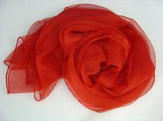 Seidenschal 230x55cm passionrot rot Chiffon Stola von Textilkreativhof auf DaWanda.com