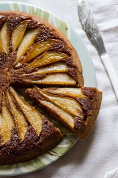 Buttermilk pear upside-downcake from  Edible Perspective
