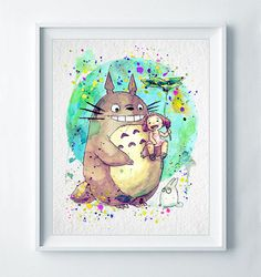 Totoro Art Print Printed on quality matte archival paper with archival inks. It is available in a variety of sizes to best fit your interior. Its