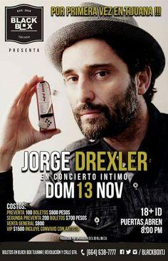 Aquí los precios del concierto de Jorge Drexler en el Black Box Tijuana!  No podemos esperar a que llegue este día...