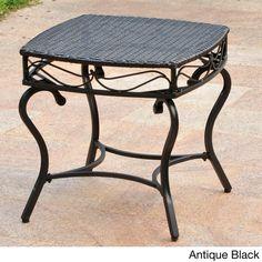0c83182d4893 International Caravan Valencia Resin Wicker Outdoor Side Table (Antique  Black)