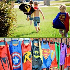 Super Hero Capes Costume Mask Batman Superman Birthday Kids Party Boys Girl Gift