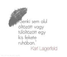 """""""Senki sem alul öltözött vagy túlöltözött egy kis fekete ruhában."""" - Karl Lagerfeld Karl Lagerfeld, Quotes, Blog, Minden, Chanel, Outfit, Quotations, Outfits, Blogging"""