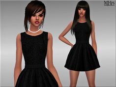 -a lovely lace skater dress with heart neck line and flared skirt Found in TSR Category 'Sims 4 Female Everyday' Sims 4 Clothing, Clothing Sets, Female Clothing, Sims 4 Dresses, Women's Dresses, Sims 4 Update, The Sims, Sims Cc, Flare Skirt