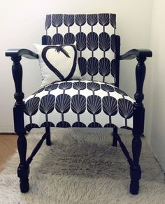 """Tango & James salvaged chair, freshly upholstered in """"Fanpods"""" print in black and white, and (previously gold!) timber frame painted black. Quite a transformation."""