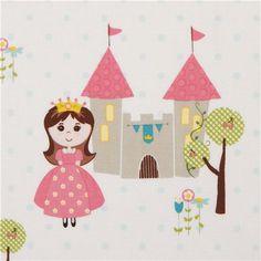 white fairy tale fabric with princess castle Riley Blake USA
