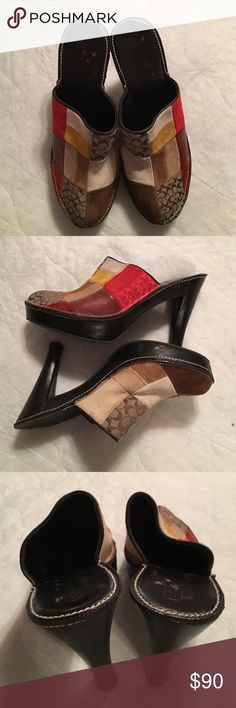 "Coach patchwork heeled mules-limited edition Authentic Coach Patchwork Heels/Mules. 4.5"" heel with a 1"" platform. All leather or suede except for the C emblem fabric and the rubber bottom of soles. Worn only 2-3 times. In excellent condition.  Have been stored in plastic shoe box. Coach Shoes Heels"